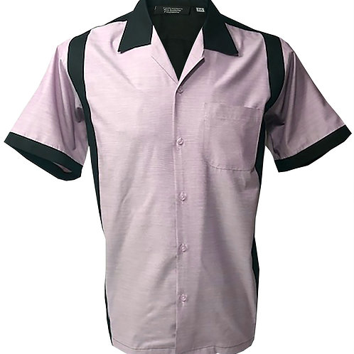 Retro Vintage Rockabilly Bowling Men's Button-down Shirt Black Pink