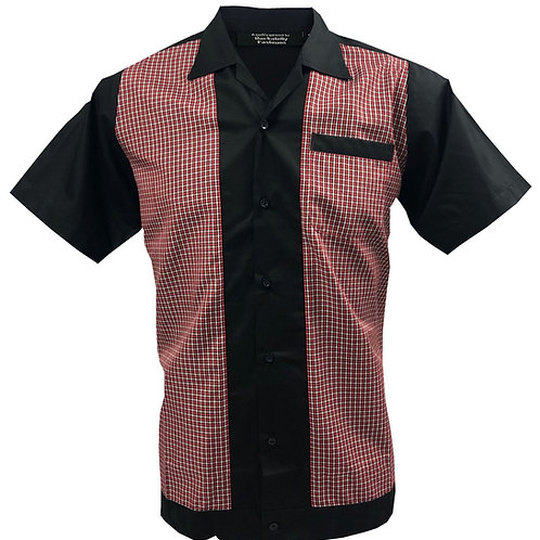 Retro Vintage Rockabilly Bowling Men's Button-down Shirt Checkered