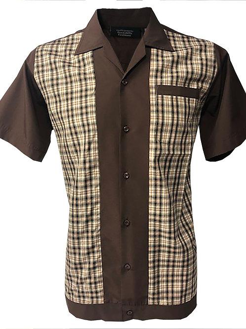 Retro Vintage Rockabilly Bowling Men's Button-down Shirt Brown Checkered