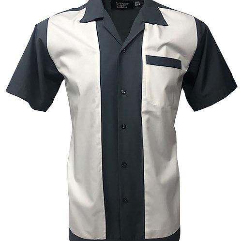 Retro Vintage Rockabilly Bowling Men's Button-down Shirt Grey White