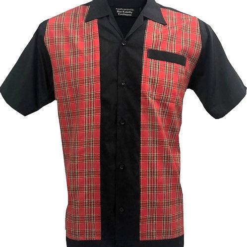 Retro Vintage Rockabilly Bowling Men's Button-down Shirt Tartan