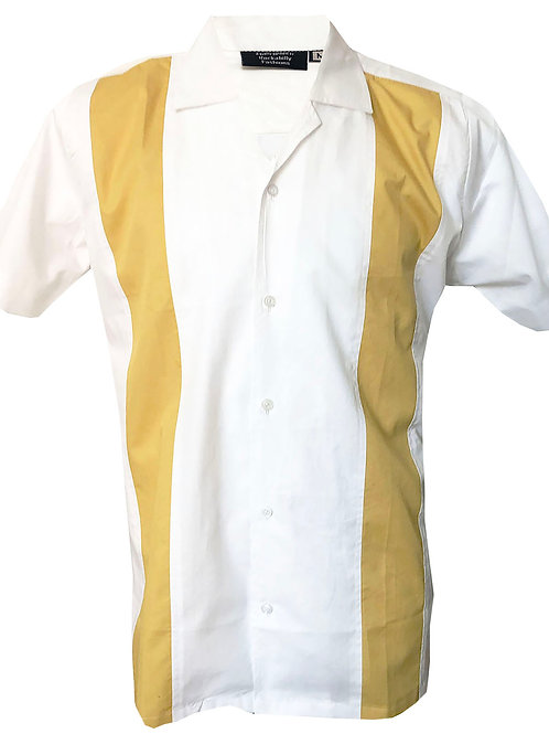 Retro Vintage Rockabilly Bowling Men's Button-down Shirt White