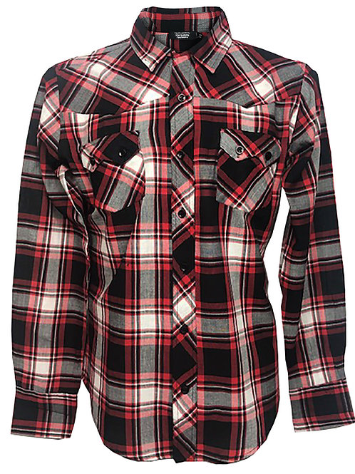 Western Retro Vintage Rockabilly Bowling Men's Button-down Shirt Red Multi