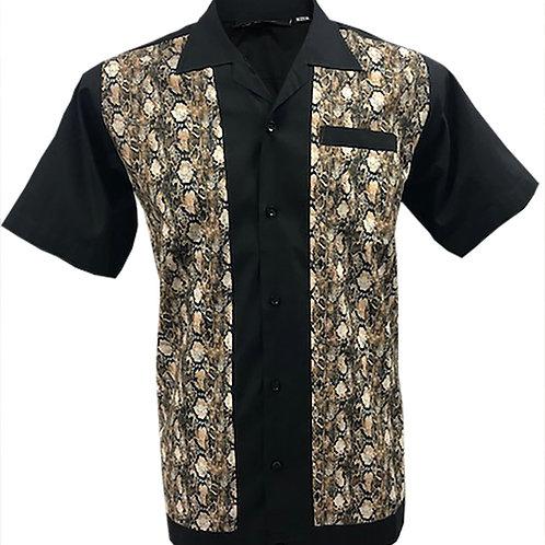 Snakeskin Print Rockabilly, Bowling, Retro, Vintage Men's Shirt Black/Ta