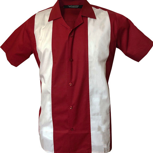 1950s/1960s Rockabilly, Bowling, Retro, Vintage Men's Shirt Red/White