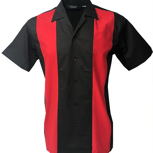 Retro Vintage Rockabilly Bowling Men's Button-down Shirt Black Red