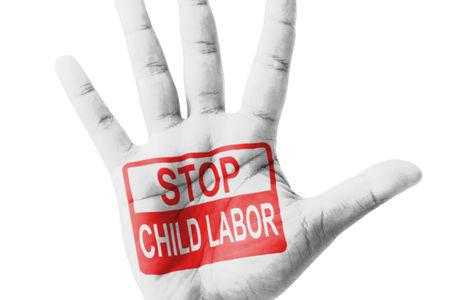 Open hand raised, Stop Child Labor sign