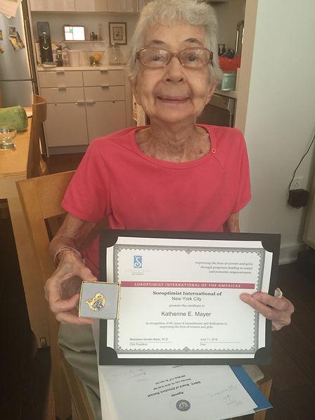 Kathy Mayer receiving her 40th Anniversa