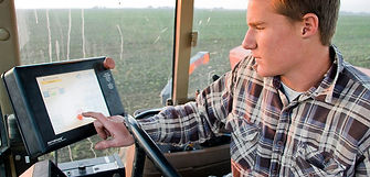 GPS guided tractor on California dairy farm