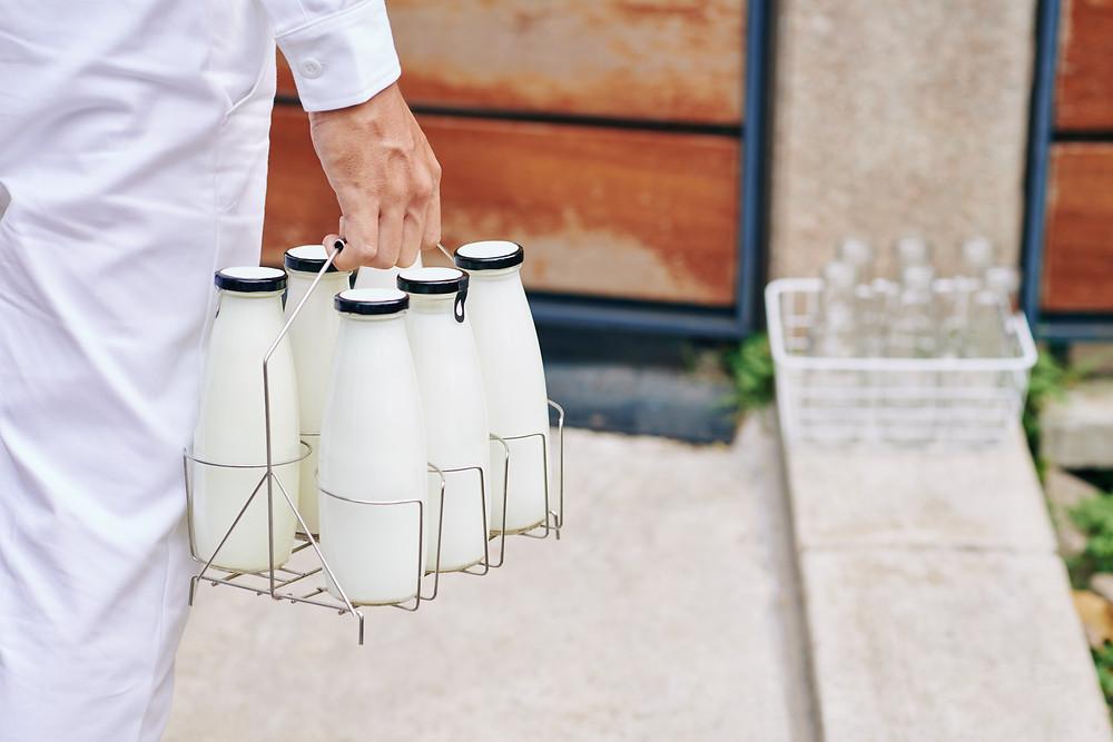 milk man delivering milk