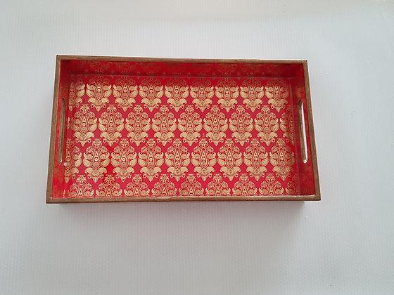 Red Banarasi Print Tray (Gold Foil)