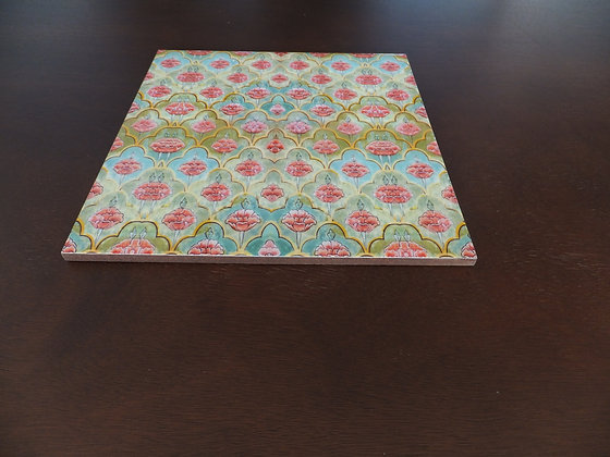 Wooden Mughal Flower Placemats and Trivets set