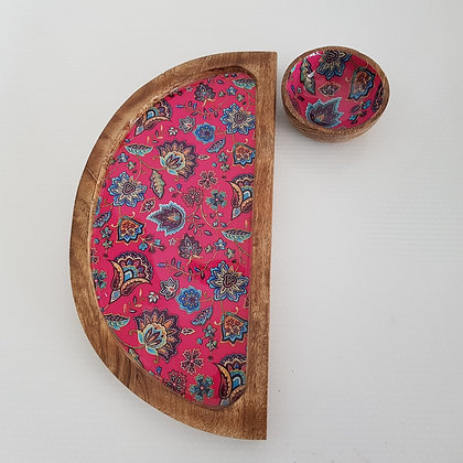 D shape floral platter with dip bowl