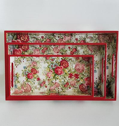 Beautiful Rose Tray set (3 pc)