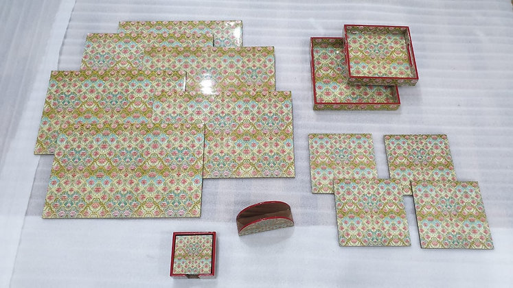 Wooden Mughal Flower tableware 20 pc set