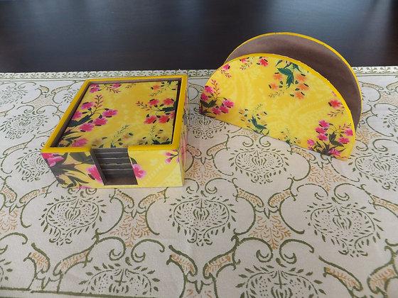 Yellow floral coaster & Napkin set