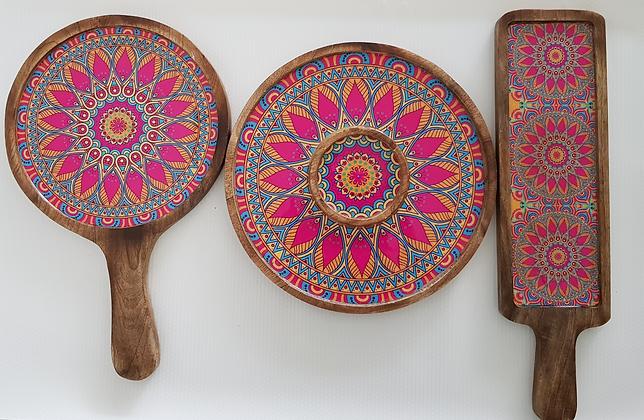 Mandala art platter set