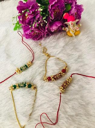 Handpainted stone pearl rakhi and lumba set (design 2)