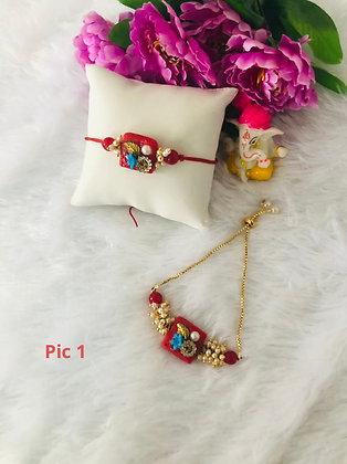 Beautiful pearl stone rakhi and lumba