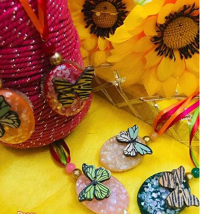 Kids girl stone rakhi with butterfly