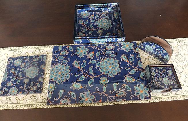 Wooden Blue Floral tableware 20 pc set