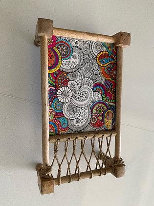 Rainbow Mandala art Khatiya platter
