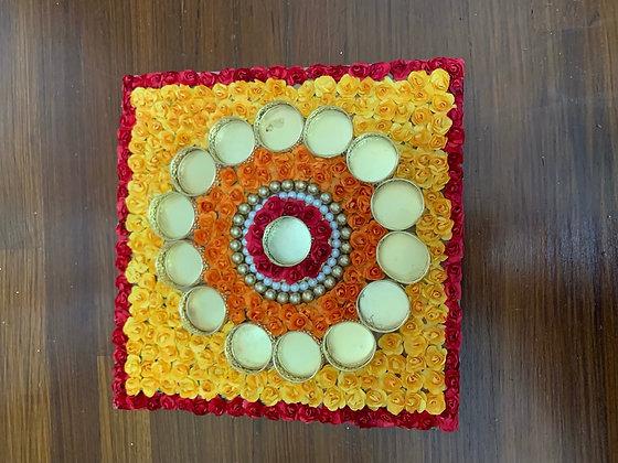 Beautiful rangoli square mat with T-light