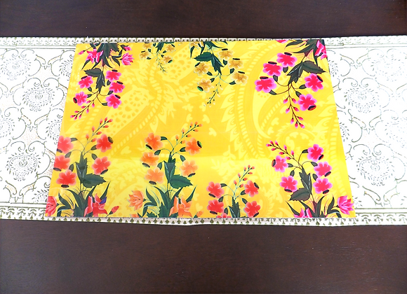 Wooden Multi floral Placemats and Trivets set