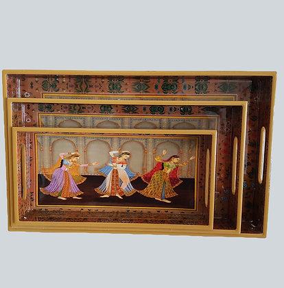 Dancing Lady tray set (3 pc)