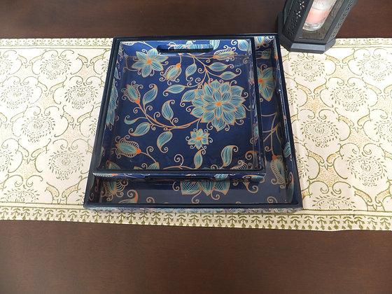 Elegant Blue Floral Tray