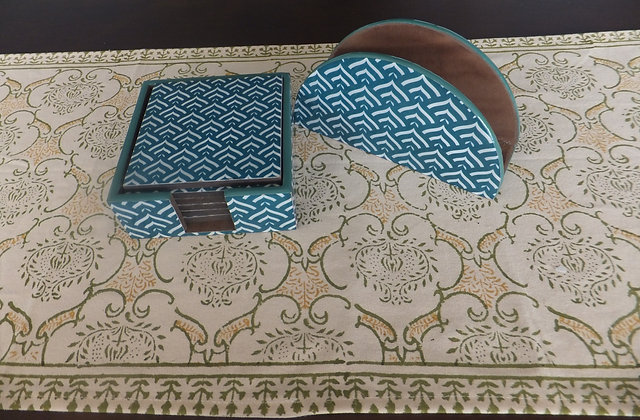 ZigZag print coaster & Napkin set