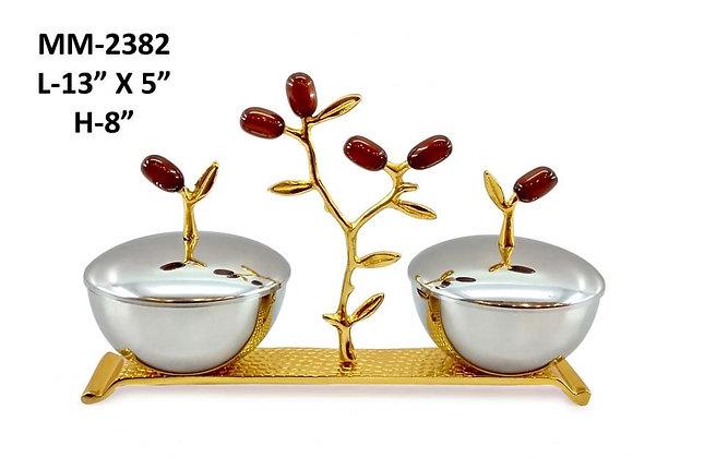 Multipurpose stainless steel bowl set leaves design