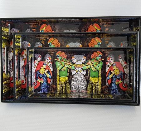 Radha Krishna tray set (3 pc)