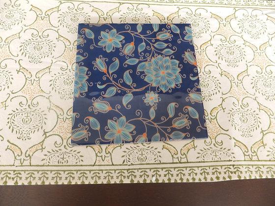 Blue floral trivets