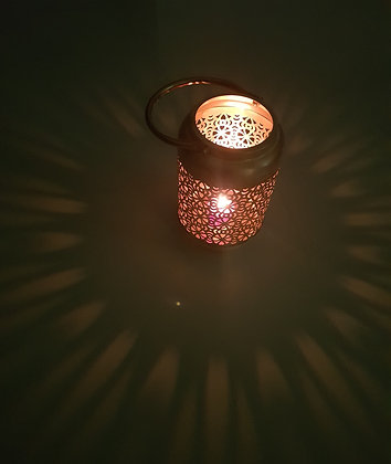 Golden T light candle holder