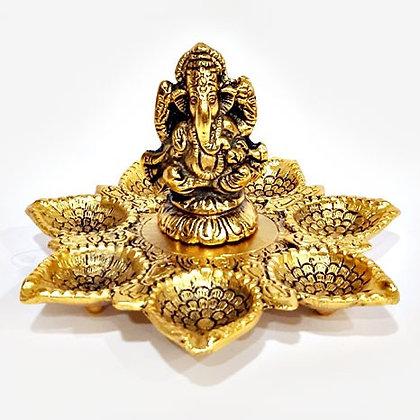 Metal Seven Diya Ganesha (Golden)