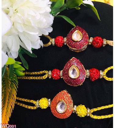 Heart shape kundan Rakhi