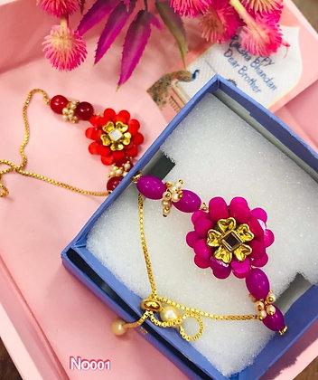 Crystal flower stone rakhi and lumba