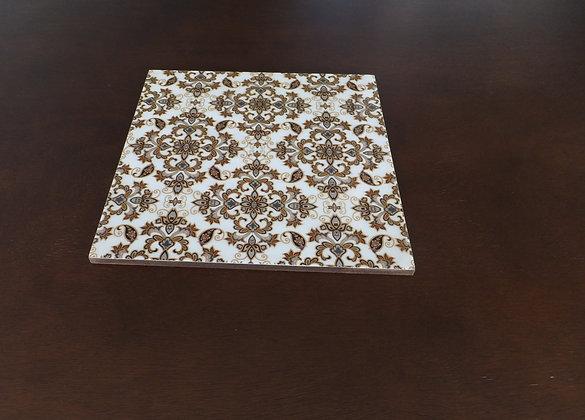 Wooden Golden Royal Damasek Trivets 4 pc set