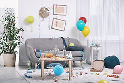 Messy living room interior. After party