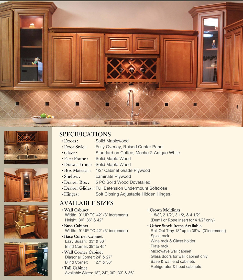 Kitchen with base cabinets only - Coffee Glaze Spec Sheet