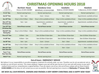CHRISTMAS OPENING TIMES 2018!