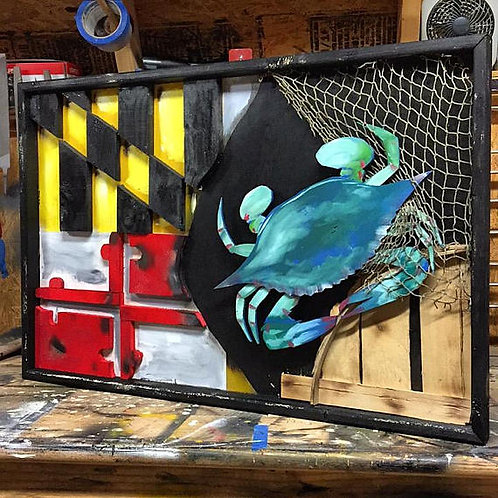 Maryland Half Flag w/ Crab