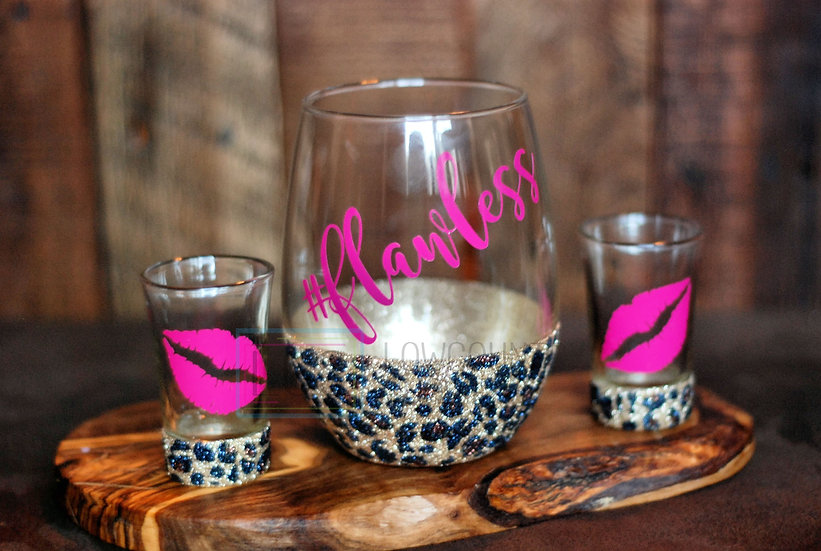 Leopard Print Stemless Wine/Shot Glass Set