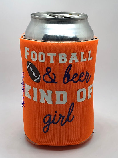 Football & Beer Kind Of Girl Can Cooler