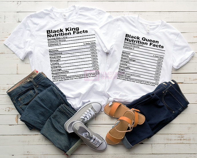 Black Queen/King Nutrition Facts T-Shirt