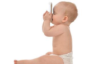 Baby+kissing+cell+phone+virtual+postpart