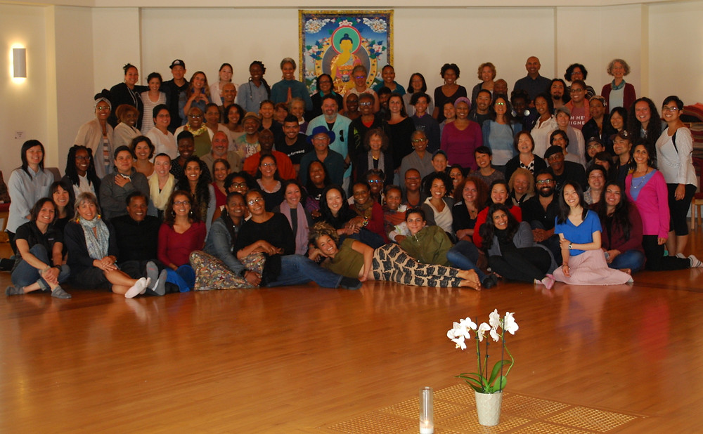 A group of 100 people of color at the 20th silent retreat