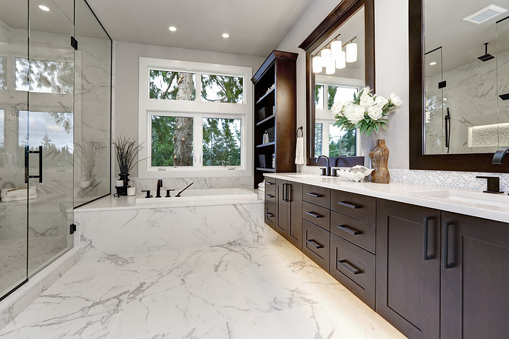 Master modern bathroom interior in luxur