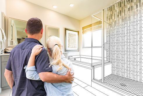 Couple Facing Bathroom Drawing Gradating